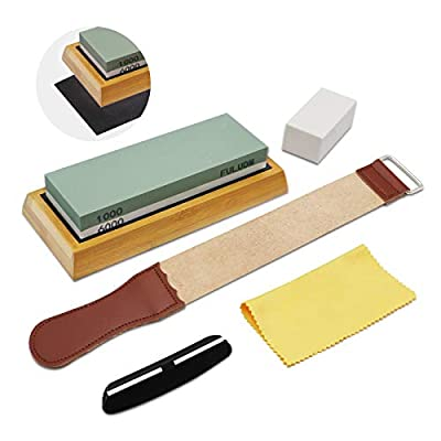 FULUDM Whetstone Knife Sharpening Stone Set 1000/6000 Grit Dual Side Knife Sharpener Stone Wet Water Stone Kit, with Bamboo Base Angle Guide Leather Strop for Kitchen Knives Blades