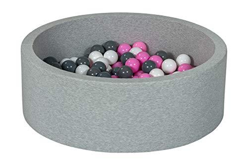 Velinda Bällebad Ballpool Kugelbad Bällchenbad Bällchenpool Kinder Pool mit 200 Bällen (Farbe der Bälle: weiß,rosa,grau)
