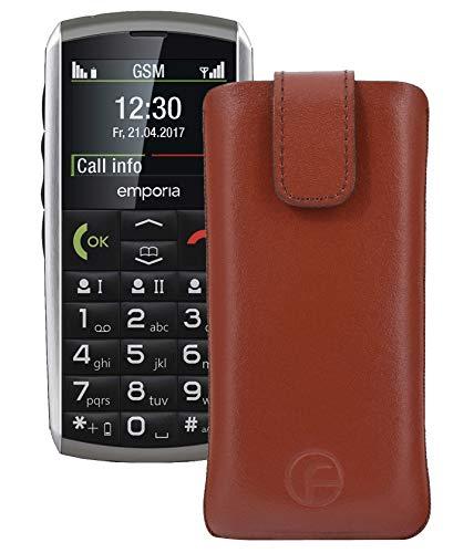 Original Favory Etui Tasche für emporia CLASSIC Leder Etui Handytasche Ledertasche Schutzhülle Case Hülle Lasche mit Rückzugfunktion* in braun