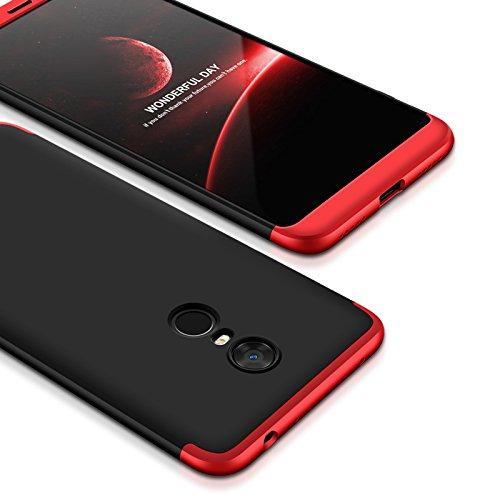 DIFE 360 Grados 3 in 1 Todo Incluido Anti-Scratch Anti-Huella Dactilar a Prueba de Choque Protective Case Cover Funda + Pelicula Protectora para XiaoMi RedMi 5 Plus - Rojo + Negro