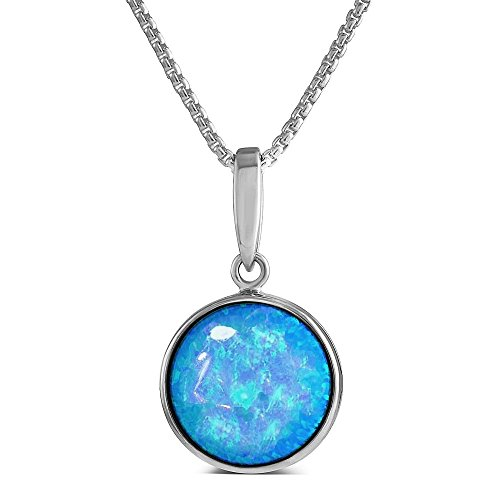 Paul Wright Created Opal Pendant, 925 Sterling Silver, 12mm Round with Vibrant Blue Colour, 41cm plus 5cm Extender