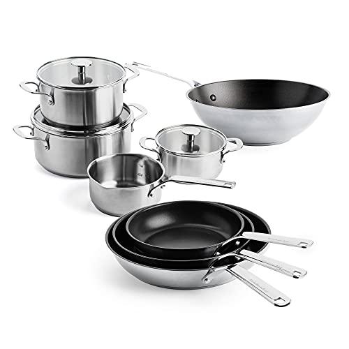 KitchenAid, Batería de Cocina Antiadherente de Acero Inoxidable - 11 Piezas