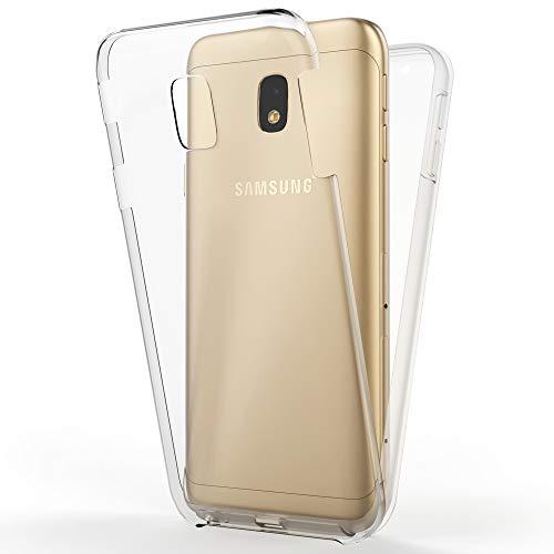 NALIA Funda Integral Compatible con Samsung Galaxy J3 2017, Carcasa Completa con Cristal Templado, Ultra-Fina Telefono Movil Cubierta Protectora Cover Delgado Bumper Phone Case, Color:Transparente