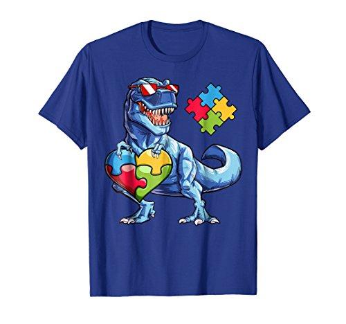 Dinosaur Puzzle Piece T shirt Autism Awareness Boys Kids Men