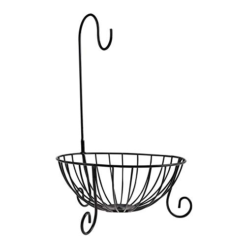 1 Nivel de Frutas, Novedad Cocina Metal Fruit Basket Racks de Almacenamiento con Soporte de plátano Desmontable Hook Home Kitchen Decor Hoper Holder Organizador (Color : Schwarz)