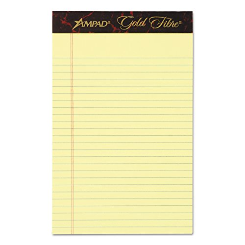 Ampad 20004 Gold Fibre Writing Pads, College/Medium, 5 x 8, Canary, 50 Sheets (Case of 12 Pads)