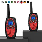 Topsung Walkie Talkies Long Range, M880 FRS Two Way Radio for Adults with Mic LCD Screen/Durable Wakie-Talkies with Noise Cancelling for Men Women Outdoor Adventures Cruise Ship (Red 2 in 1)