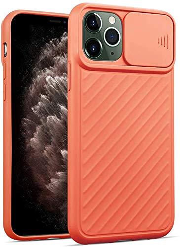 Oihxse Funda Silicona Compatible con iPhone 6/iPhone 6S 4.7 con Tapa Deslizante Protección Cámara Cáscara Silicona Líquida Suave TPU Bumper Ultra Delgada Antigolpes Anti-rasguños Case Cover,Naranja
