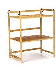Vobajf Soporte de Horno de microondas 2/3 Capas de bambú microondas estantería Altura Ajustable Rack microondas Horno Estante Almacenamiento Estante Estante de la Cocina Cocina Baker's Rack