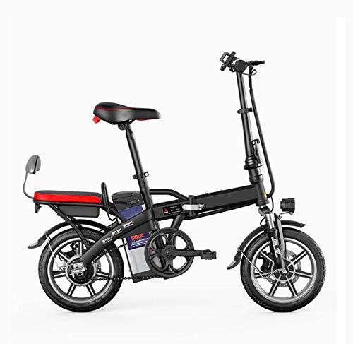 Adulto Mini Mujeres Bicicleta eléctrica, batería de Litio de 48V de aleación de Aluminio Plegable pequeña Bicicleta eléctrica, 14inch City E-Bikes,Negro,150KM