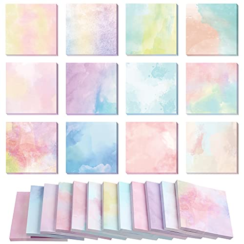 720 Pieces 12 Pack Watercolor Sticky Note Pads 2.8 x 2.8 Inches Multiple Designs of Watercolor Self-Stick Notes Self-Adhesive Memo Pads for Reminders Studying Office School Home