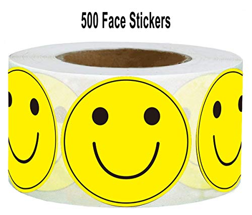 "Large Yellow Smiley Face Stickers Happy Face Labels 2"" Inch - Round Happy Smiling Face Stickers Teacher Labels Smiley Stickers 500 Adhesive Labels Per Roll (Yellow, 2 inches)"