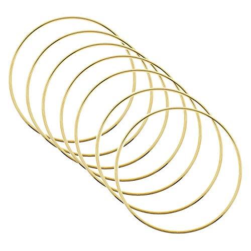 JZZJ 6er Set Traumfänger Metall Ringe Makramee Ring für Traumfänger und Basteln Gold 15,2 cm