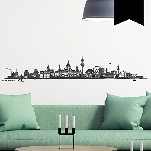WANDKINGS Wandtattoo - Skyline Hannover (ohne Fluss) - 220 x 44 cm - Schwarz - Wähle aus 6 Größen & 35 Farben