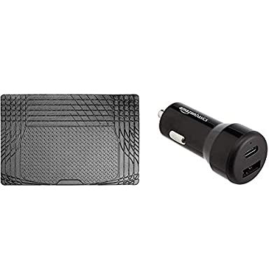 Sakura SS5125 Universal Boot Mat + AmazonBasics USB-C (15W) and USB-A (12W) Car Charger