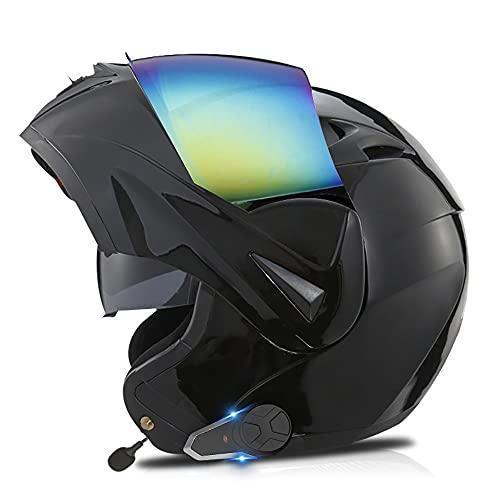 Letetexi Casco Moto Modular Bluetooth Integrado Casco Scooter Anti Niebla Visera Doble ECE Homologado Casco de Motocicleta para Adultos Hombres Mujeres 53-62cm
