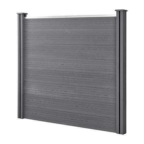 neu.holz WPC Gartenzaun Grau mit Pfosten Sichtschutz Windschutz Lamellenzaun Zaun 165x162cm