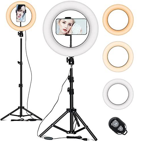 10 Zoll Ringlicht mit Stativ 53 Zoll, Selfie Ringleuchte 3 Farbmodi und 10 Helligkeit Led Ringlicht für Selfie, Vlog, Makeup, YouTube, Live-Stream