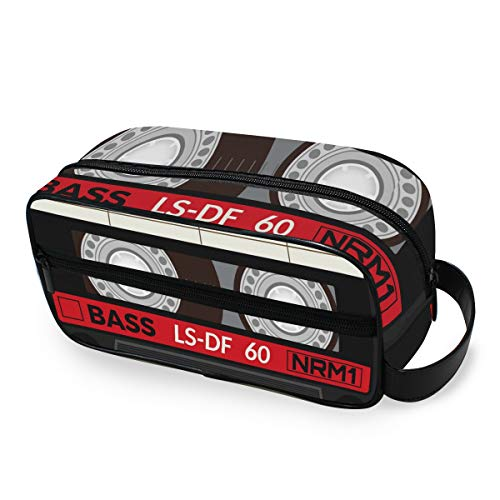 Bolsa de maquillaje Bolsa de tocador de viaje portátil Cassette de audio retro Herramientas de almacenamiento para niñas Estuche de tren cosmético