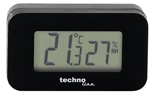 Technoline Thermometer WS 7009 - Auto-Thermometer mit Hintergrundbeleuchtung für den Innenraum, schwarz, Temperaturanzeige, Luftfeuchteanzeige
