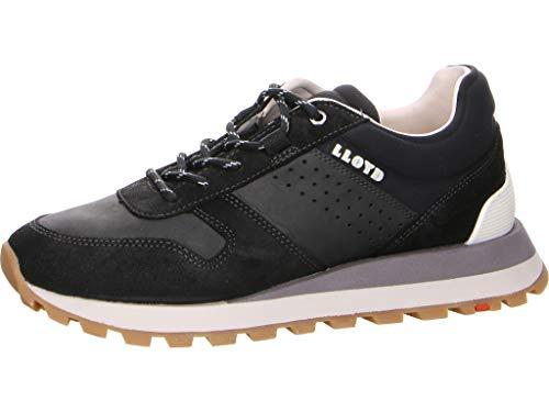 LLOYD Herren Low-Top Sneaker EGERIA, Männer Sneaker,Variofootbed, Halbschuh strassenschuh schnürer schnürschuh sportschuh Men,Black,9 UK / 43 EU