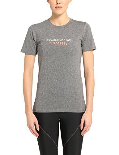 Ultrasport Damen Laufshirt Endurance Carbona Kurzarm T-Shirt, Grau Melange, 44