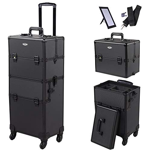 AW Black Rolling Makeup Case 2in1 Cosmetic Lockable Trolley Freelance Makeup Artist Travel Train Case Storage