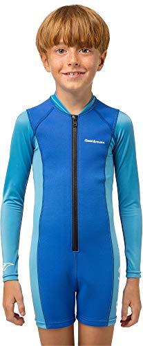 Cressi Kids Long Sleeve Swimsuit Kinder Unisex Shorty Neoprenanzug Ultra Stretch Blau XXL (7/8 Jahre)