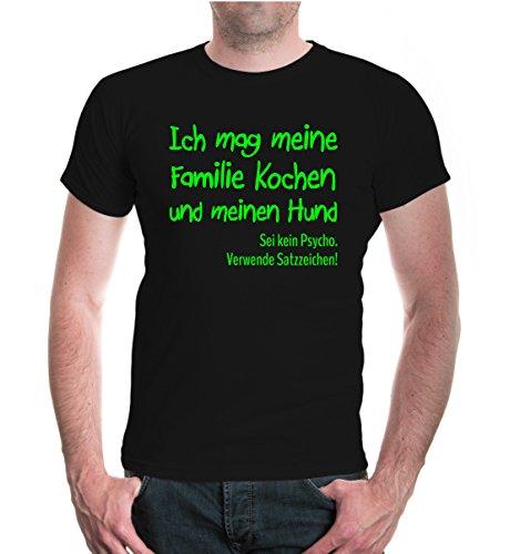T-Shirt Ich mag meine Familie Kochen und meinen Hund-L-Black-Neongreen