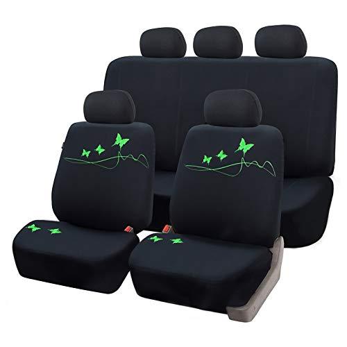 eSituro universal Sitzbezüge für Auto Schonbezug Komplettset mit Schmetterling schwarz/grün SCSC0098