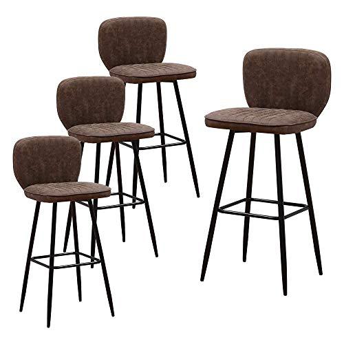 DAKEUR Taburetes de Bar industriales de 4 Piezas con Respaldo, taburetes de Barra de Altura para Barra de Desayuno, Barra de Desayuno, Barra de Bar, Taburete de Bar de Cuero PU marrón Retro, sillas