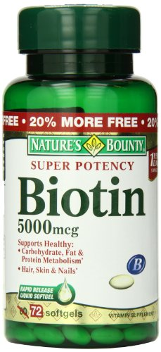 Nature#039s Bounty Biotin Supplement 5000mcg 72 Tablets Packaging May Vary