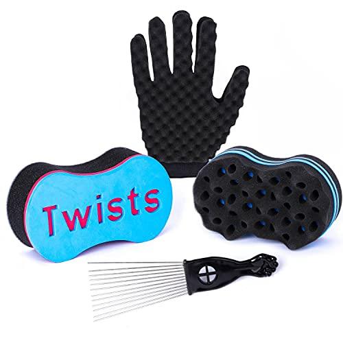 4Pcs Hair Sponge Set - Supaze Magic Twist Hair Sponge Brush with 1...