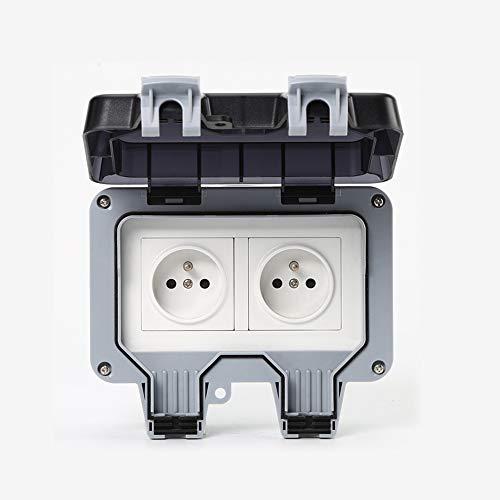 IP66 - Doble enchufe impermeable doble para exterior y antipolvo, doble toma eléctrica de pared con interruptor para casa de campo, jardín, cuarto de baño, garaje, piscina