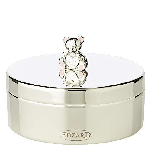 Edzard Boîte à Dents/boîte à Bijoux/boîte à pilules Mama Ours, Hauteur 4 cm, Argent plaqué Noble, résistant au ternissement