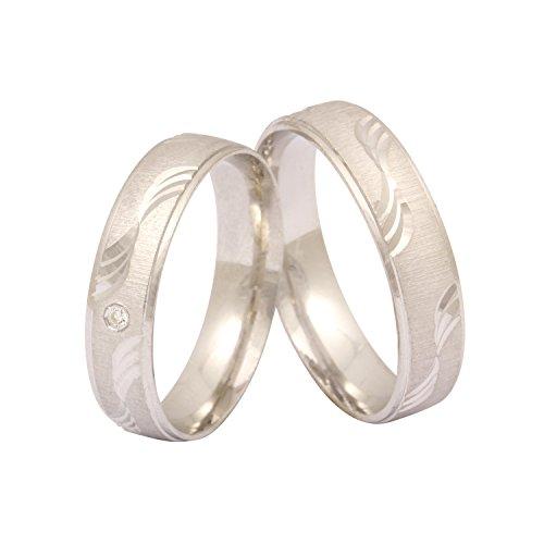 Juwelier Schönschmied - Zwei Verlobungsringe Freundschaftsringe Eheringe Otilya Silber Zirkonia inkl. persönliche Wunschgravur 62-62 NrS1HD