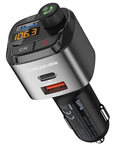 UNBREAKcable Trasmettitore Bluetooth per Auto, FM Transmitter per Auto Radio, MP3 Audio Lettore, Adattatori Vivavoce Car Kit, 5.0 V Bluetooth Auto con 2 Porte USB (PD 20W & QC 3.0) Supporta U Disk