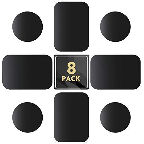 MENNYO Metallplatte 8 Stück für Magnet KFZ Handy Halterung, Metallplättchen Handyhalterung Metall Platte mit Klebefolie für kfz handyhalter - 4 Runden und 4 Rechtecke