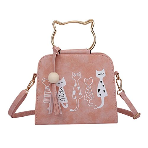 TUDUZ Design Messenger Bag Frauen Handtaschen Katze Kaninchen Muster Schulter Umhängetasche (Rosa)