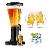 RELAX4LIFE Biersäule 3L, Bier Zapfsäule aus Kunstoff, Getränkespender mit Eiskühlung, Biertower mit Zapfhahn & LED, Trinksäule korrosionsbeständig & sicher, ideal für Zuhause, Bar, Party, Schwarz