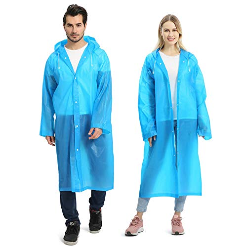 Opret 2 Pack Portable EVA Raincoats for Adults, Reusable Rain Ponchos with Hoods and Sleeves Lightweight Raincoats, Blue