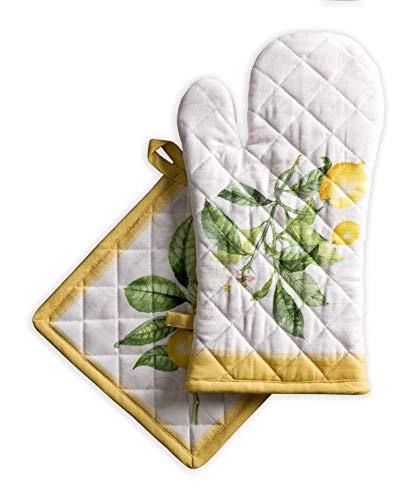 Maison d' Hermine Limoncello 100prozent Baumwolle Set aus Ofenhandschuh (19 cm x 33 cm) & Topflappen (20 cm x 20 cm) zum BBQ | Kochen | Backen | Mikrowelle | Grillen | Frühling Sommer