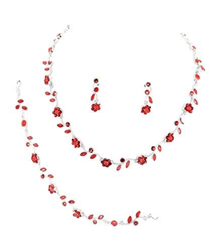 Schmuckanthony Trachten Brautschmuck Silber Hochzeit Schmuckset Kette Set Armband Ohrringe Dirndl Kristall Blumen Blätter Rot