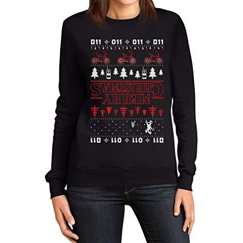 Maglione Natalizio Stranger Merry Christmas Upside Down Things Felpa da Donna Small Nero
