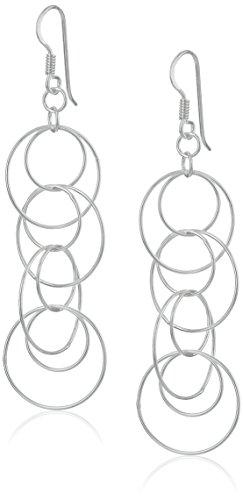 Sterling Silver Multi-Circle Link Dangle Earrings