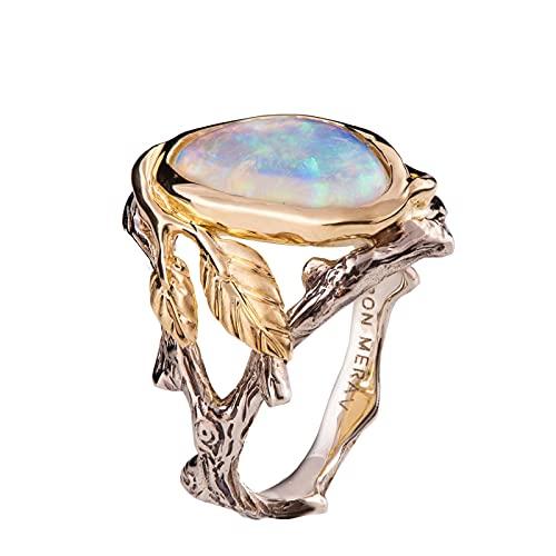 Anillo de ópalo simple, exquisito anillo de plata 925 de oro para mujer, joyería, accesorios simples para fiestas, joyería, anillo de compromiso 9