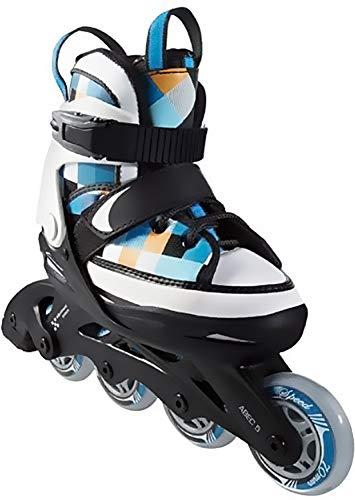 Crivit Sports Kinder Inliner Inline-Skates Softboot (schwarz weiß blau orange kariert Gr. 29-33)