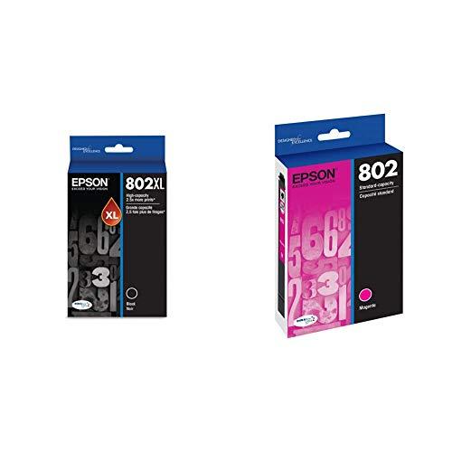 Epson T802XL120 DURABrite Ultra Black High Capacity Cartridge Ink & T802320 DURABrite Ultra Magenta Standard Capacity Cartridge Ink