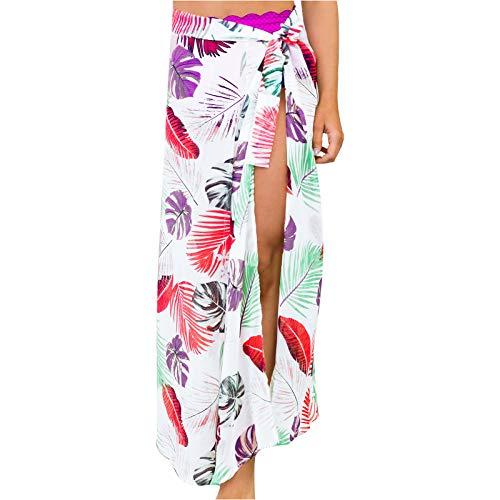 SDFA - Blusa de verano limitado con ventana de playa sexy para damas, toalla de playa de malla, falda estampada, multicolor amarillo S
