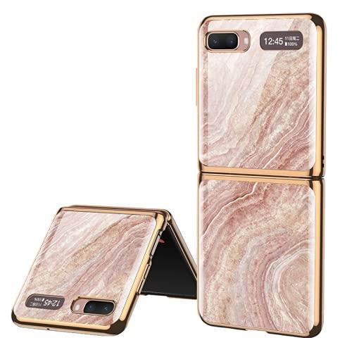 Estuche para teléfono móvil de vidrio plegable con marmoleo pintado adecuado para Samsung Galaxy Z Flip 5G Cubierta de teléfono de negocios de lujo Proteger el borde de revestimiento de la carcasa